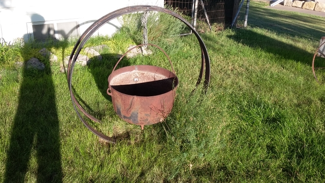Large Iron Cauldron with stand