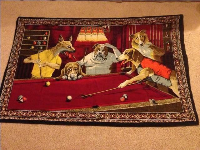Vintage Quot Jack The Ripper Quot Wall Tapestry Dogs Playing Pool