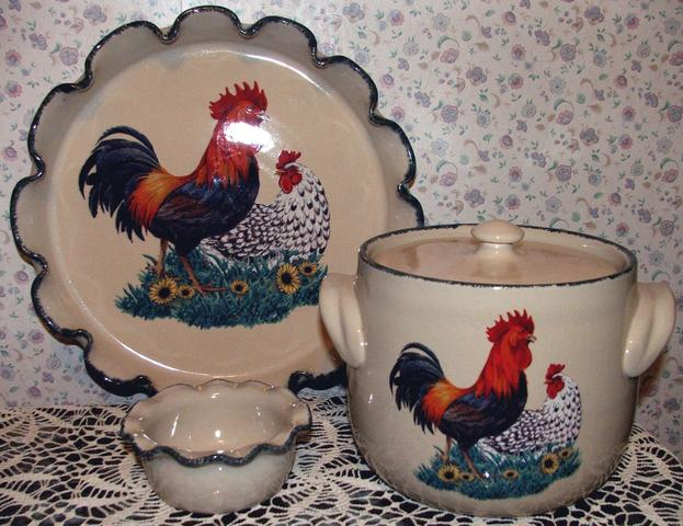 3 Pc Rooster Home Garden Party Ltd Stoneware Bakeware