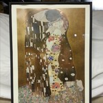 "Gustav Klimit ""The Kiss"" print in black frame"