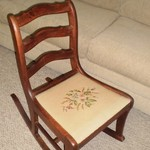 Antique Embroidered Sewing Rocker