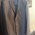 Men's lightweight silver gray pin striped suit