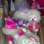 Clown Dolls, clown music boxes and doll stands