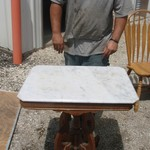 "Antique 20"" x 28"" Table with a Marble Top."