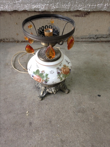 Vintage Antique Rose Hurricane Lamp