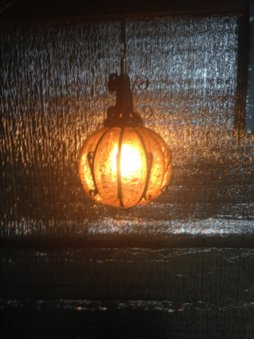 Vintage Spanish Bubble Glass Swag Lamp