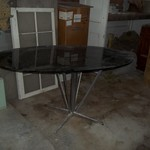 smoked glass oval table