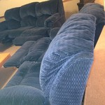 KLAUSSNER ROCKING DUAL RECLINING COUCH LOVE SEAT BLUE SET