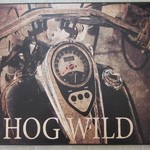 HOG WILD MOTORCYCLE CANVAS SIGN SPEED GARAGE CAR SHOP HOT
