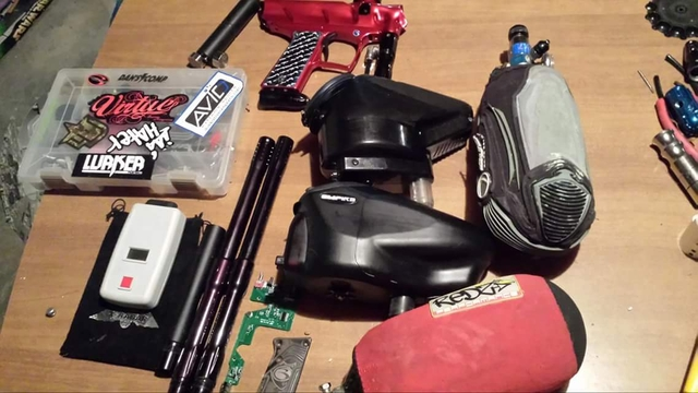 Bunch of paintball equipment