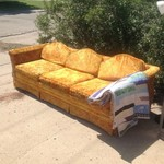 Extra long orange couch