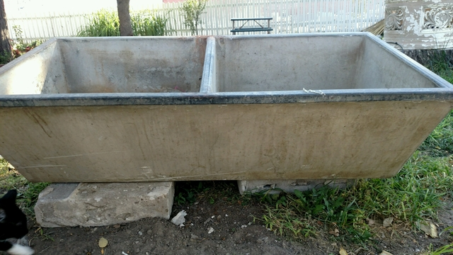 Vintage double basin concrete sink