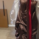 Bridesmaid/Prom Dress - Chocolate Brown and Scarlet
