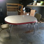 1950s Formica and Chrome Table w/Two Chairs