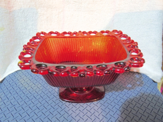 1981 FTDA Amber Pressed Glass candy dish