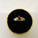 10KT YG Ruby Marque Ring with Diamond Accent