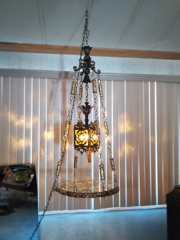 hanging STAINED GLASS and Metal  brass lamp table