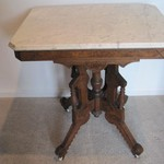 Antique Walnut Marble top table Victorian style