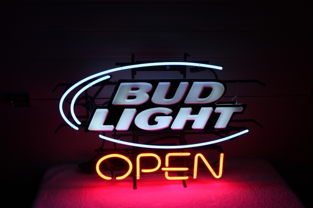 BUD LIGHT quotOPENquot BEER NEON LIGHTED SIGN