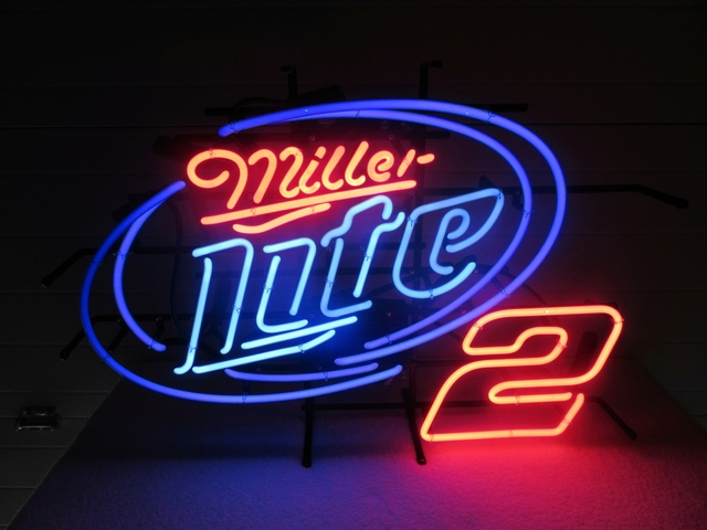 MILLER LITE 2 BEER NEON LIGHTED SIGN