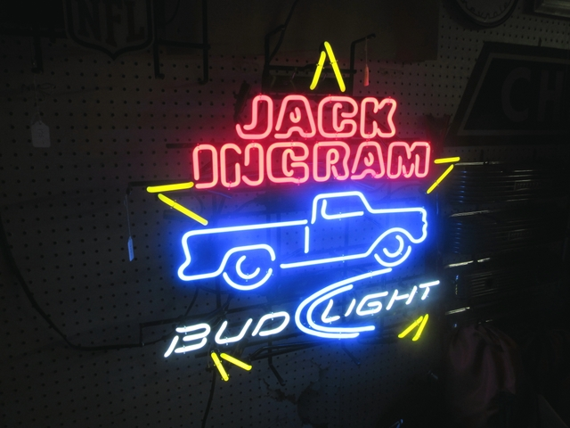 JACK INGRAM BUD LIGHT BEER NEON LIGHTED SIGN