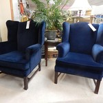 Beautiful Blue Velvet Wing Backs, matching