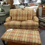 PLAID LOVESEAT and matching OTTOMAN/BENCH