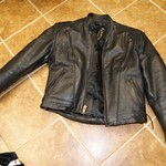 Women's Large Black Leather Motorcycle Jacket w/ liner