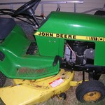 JOHN DEERE 108 RIDING MOWER, WITH J.D. SNOW BLOWER