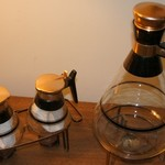 Mid-century collector's set COPPER/GLASS CARAFES w/WARMERS