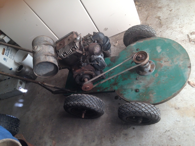 Old Front Deck Mower With A Wards Engine