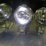 Three Vintage Crome Spot Lights.