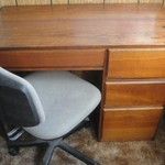 Student Desk w/ Chair Solid Wood 4 drawer