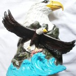 Hand Painted American Bald Eagle & Salmon Fish Bisque Statue