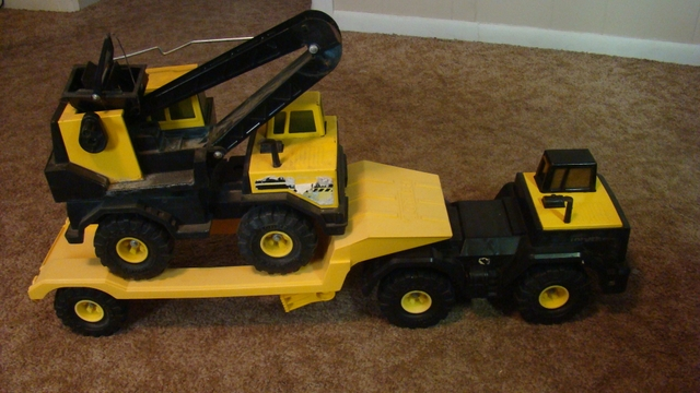 Tonka Mighty Diesel Crane  Truck  Trailer To Haul
