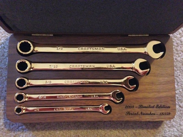 Craftsman 2003 Limited Edition 22kt Gold Plated Wrench Set
