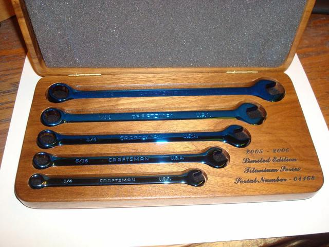 Craftsman Collectors Blue Titanium Wrench Set Walnut Box