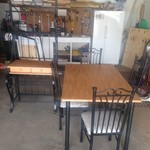 Table and Chairs with Bakers Rack