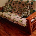 Solid blonde oak futon with mattress and drawers