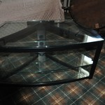 Glass TV Stand wilth glass shelves
