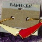 Red and White Enamel Herringbone Choker Necklace, Unused