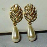 Faux Pearl and Clear Crystal Pierced Post Dangle Earrings