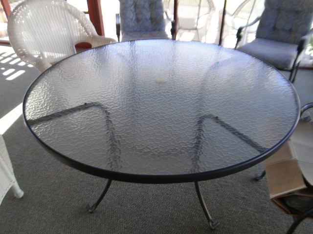 """54 54 Glass Table Top: Glass Top Metal Base Patio Table 54"""" Round"""