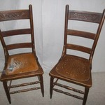 Pressed Back Antique Wood Chairs