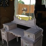beautiful pink antique vanity & chair