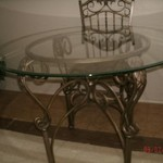 Deco Transit 5 Piece Wrought Iron Glass Table W/Chairs