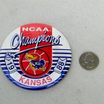 VINTAGE KU JAYHAWKS 1988 NATIONAL CHAMPIONS BUTTON 2