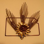 VERY NICE SMALL METAL SCULPTURE KANSAS, WHEAT, SUNFLOWER