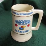 ****KU JAYHAWKS 2008 NATIONAL CHAMPS BASKETBALL STEIN****