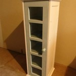 VERY NICE WOODEN 5 SHELF CURIO CABINET WITH GLASS